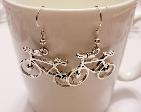 Bicycle Silver Dangle Earrings