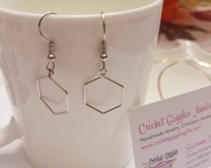 Geometric Wire Silver Dangle Earrings