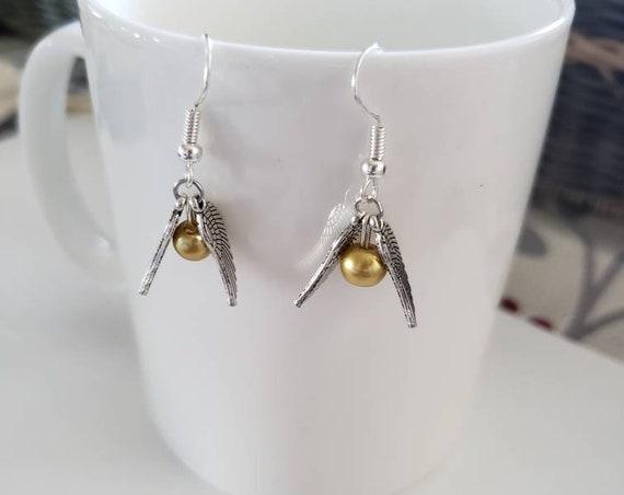 Golden Snitch Silver Dangle Earrings