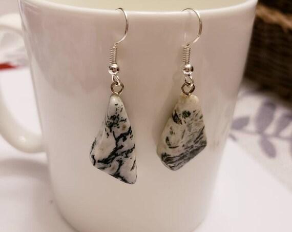 Tree Agate Free Form Pendant Silver Dangle Earrings