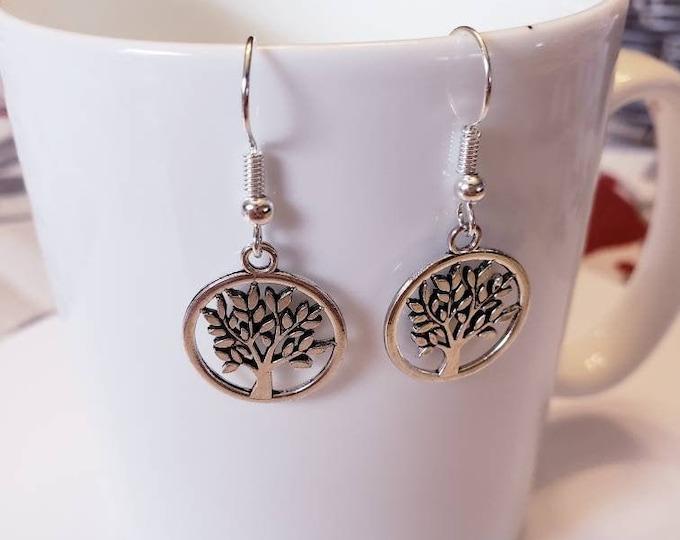 Tree Medallion Silver Dangle Earrings
