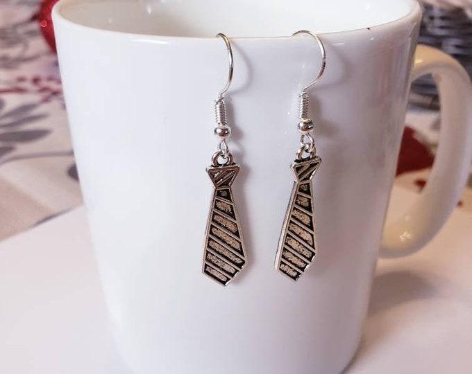 Striped Tie Silver Dangle Earrings