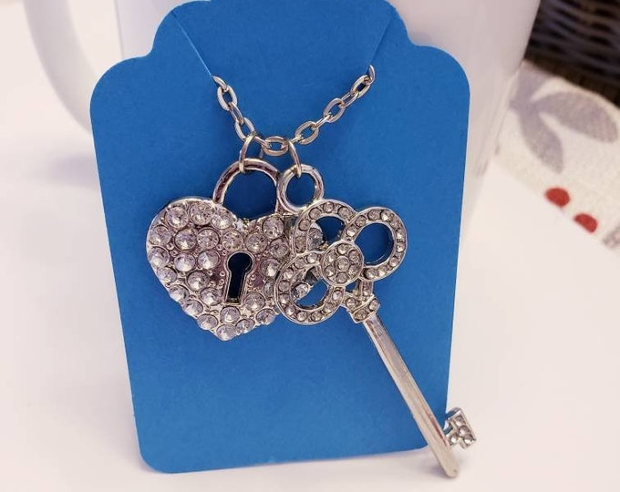 Crystal Accented Lock & Key Charm Pendant Necklace