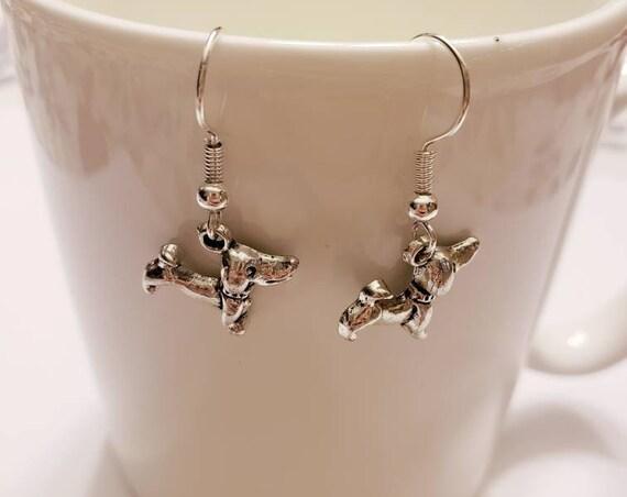 Dachshund Weiner Dog Silver Dangle Earrings
