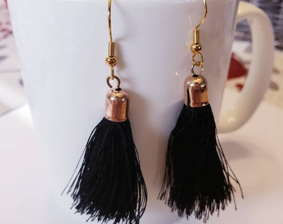 Gold and Thread Tassels Dangle Earrings