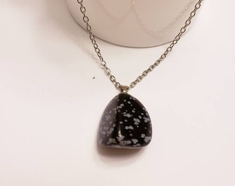 Snowflake Obsidian Free Form Pendant Silver Necklace