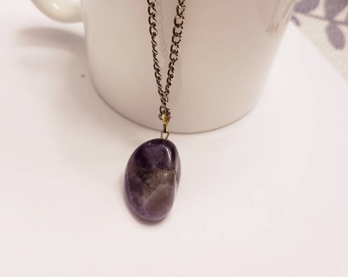 Amethyst Free Form Pendant Silver Necklace
