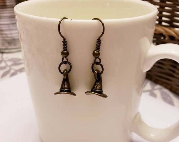 Sorting Hat Bronze Dangle Earrings