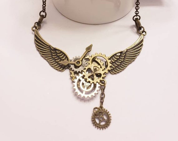 Bronze Steampunk Angel Wing Bib Necklace