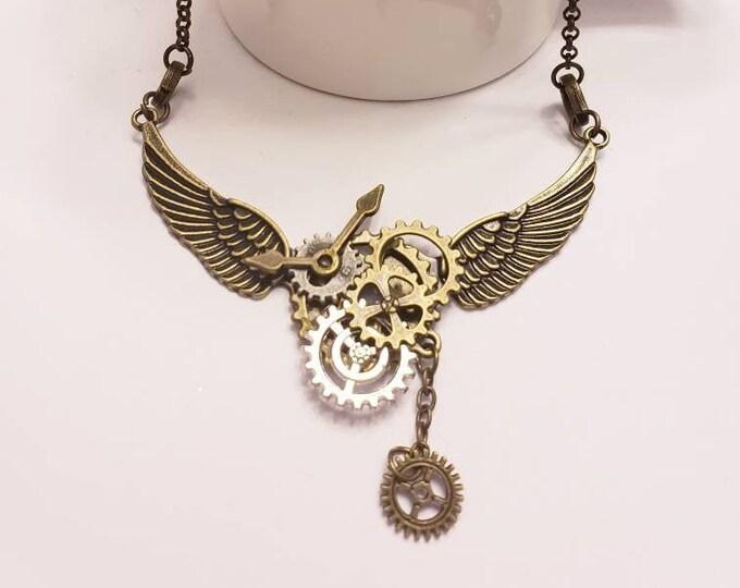 Bronze Steampunk Angel Wing Bib Necklace