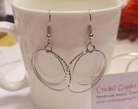 Geometric Double Circle Wire Silver Dangle Earrings