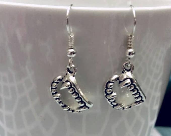 Silver Vampire Teeth Charm Earrings