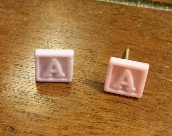 Mini ABC's Blocks Button Stud Earrings