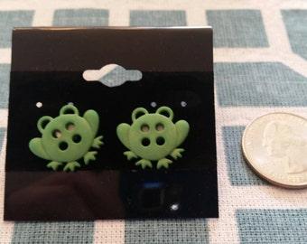 Green Frog Button Stud Earrings