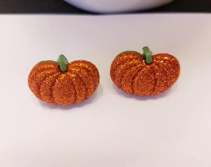 Sparkle Halloween Fall Pumpkins Stud Earrings