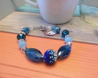 Blue Bead & Crystal Chunky Bracelet