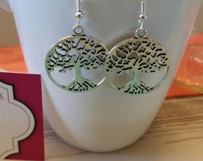 Tree Silhouette Charm Dangle Earrings