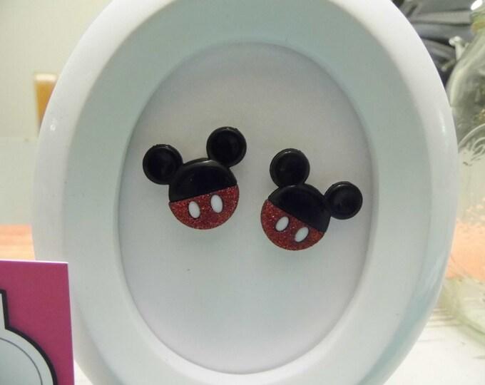 Mickey Mouse Ears Button Stud Earrings