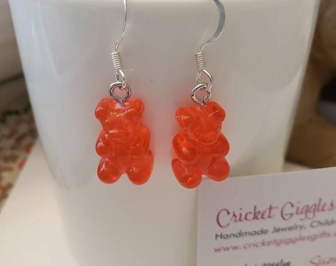 Happy Neon Gummy Bear Silver Dangle Earrings