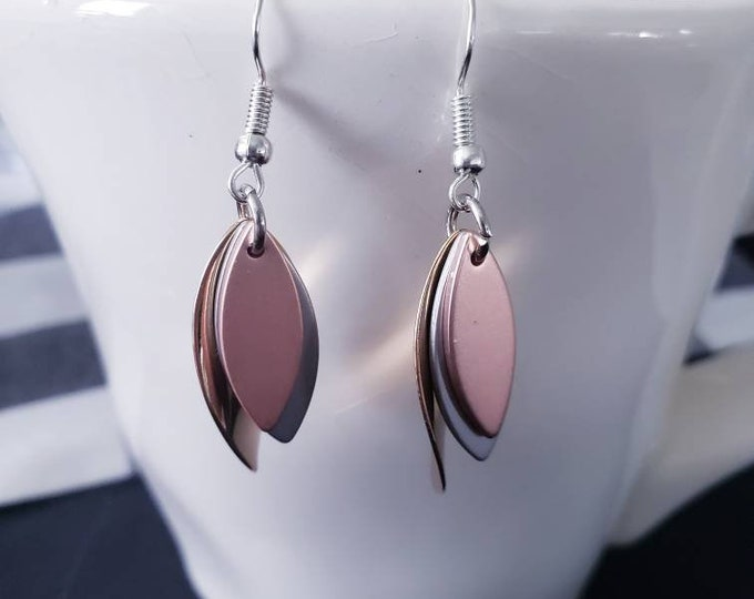 Multi Metallic Layered Petal Dangle Earrings