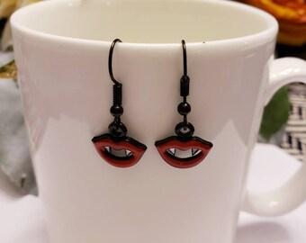 Red & Black Vampire Teeth Charm Earrings