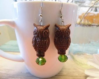 Brown Fairytale Owl Earrings