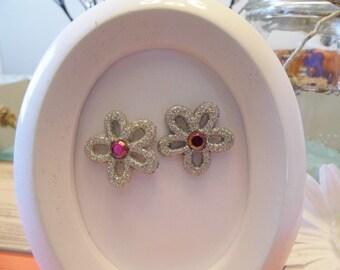 Glitter Silver Flower Stud Earrings