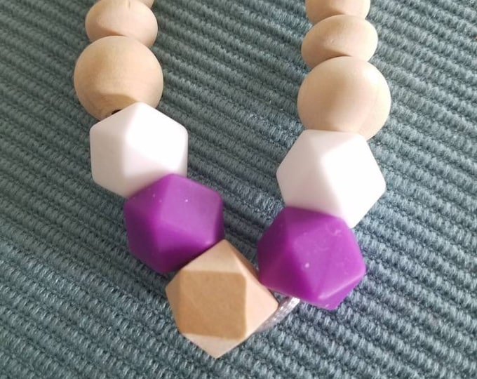 Hexagon & Round Multi-color Silicone and Wood Bead Teething Necklace
