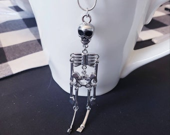Jointed Skeleton Pendant Silver Necklace