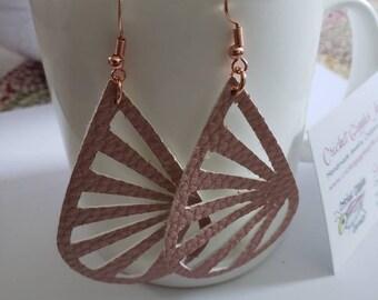Lightweight Faux Leather Metallic Dangle Earrings