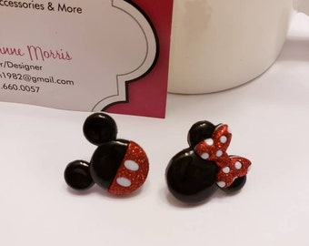 Mickey & Minnie Mouse Ears Set Button Stud Earrings