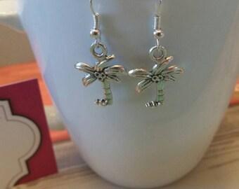 Tropical Palm Tree Charm Dangle Earrings