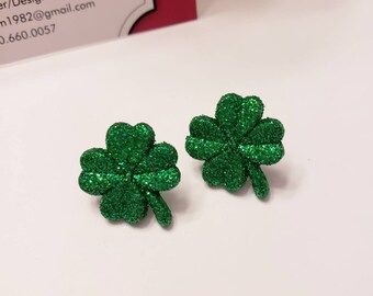 Lucky St. Patrick's Shamrock Button Stud Earrings