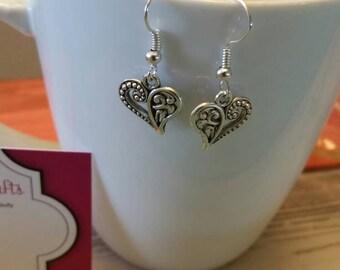 Scrolled Silver Heart Charm Dangle Earrings
