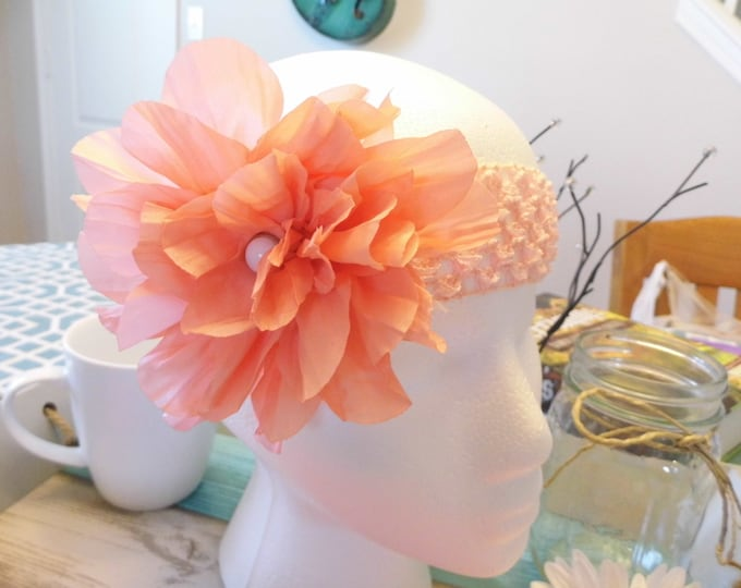 Crochet Square Lace, Chiffon Flower with Button Embellishment, Peaches & Pinks Colors
