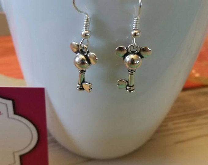 Mickey Mouse Key Charm Dangle Earrings