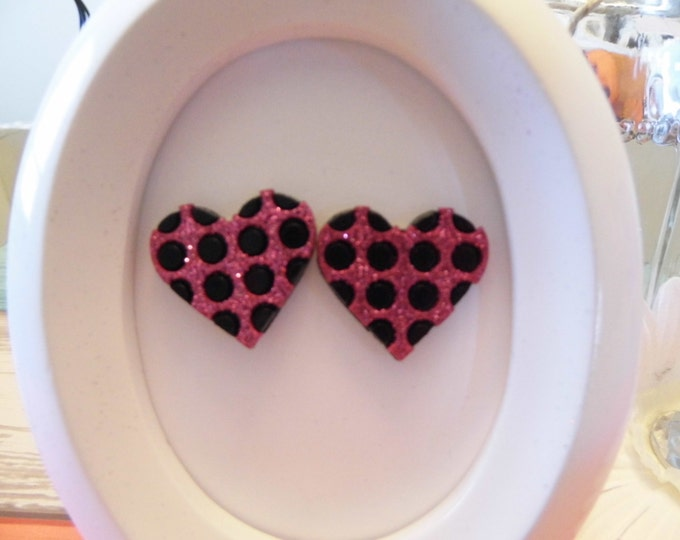 Glitter Polka Dot Heart Stud Earrings