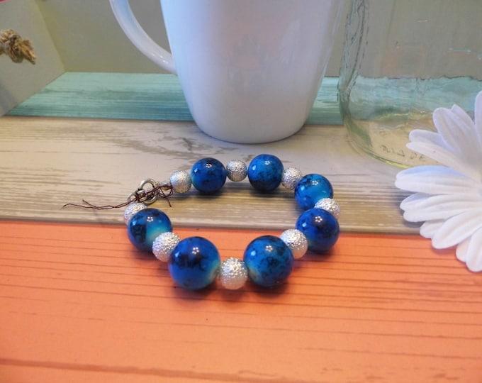 Blue & Silver Stacked Bead Bracelet