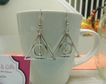Large Wizard Triangle Circle Pendant Silver Dangle Earrings