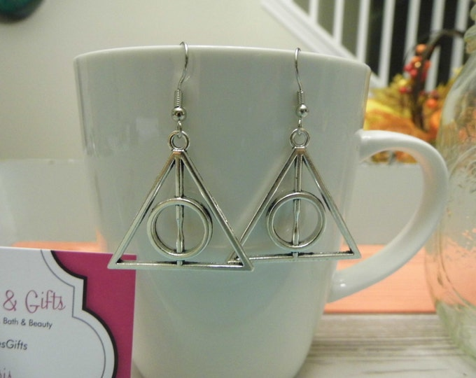 Large Triangle Deathly Hollows Inspired Silver Dangle Earrings