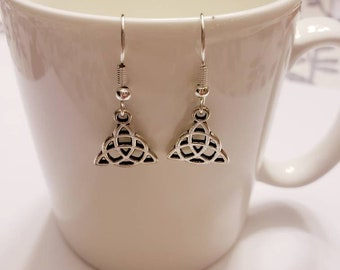 Mini Triquetra Silver Charm Dangle Earrings