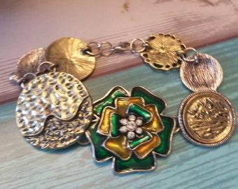 Green, Gold & Silver Flower Bracelet