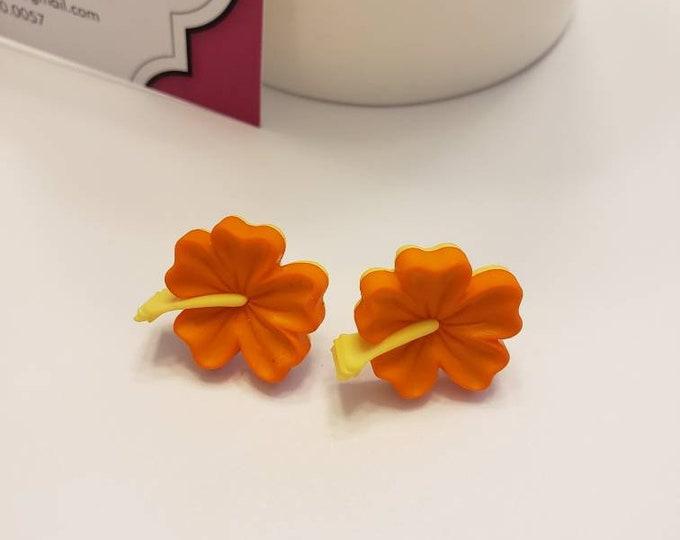 Bright Tropical Hibiscus Stud Earrings