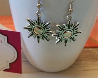 Celestial Sun Charm Dangle Earrings