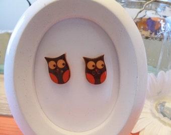 Fabulous Fall Button Owl Stud Earrings