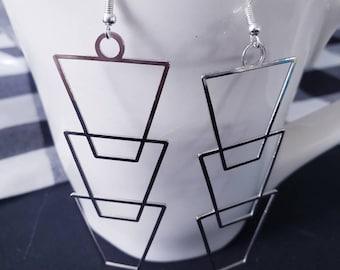 Geometric Wire Stacked Silver Dangle Earrings