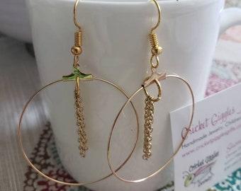 Geometric Wire & Chain Gold Dangle Earrings