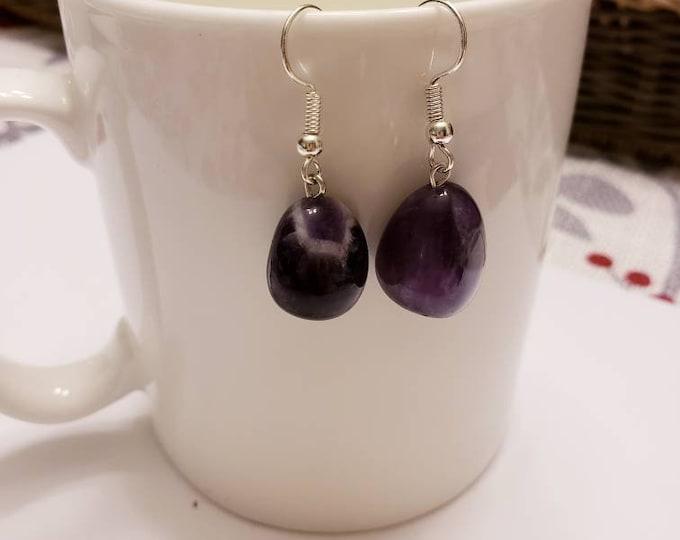 Amethyst Free Form Pendant Silver Dangle Earrings