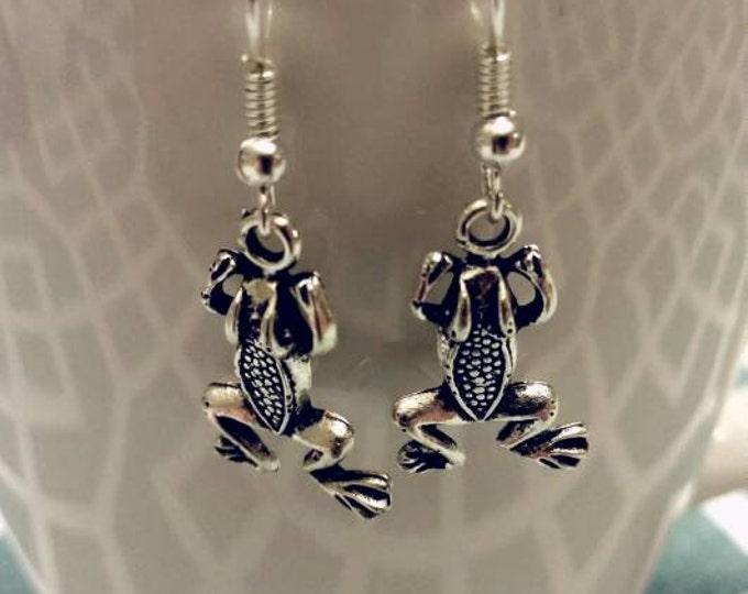 Silver Frog Charm Dangle Earrings