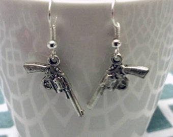 Silver Winchester Supernatural Inspired Revolver Earrings